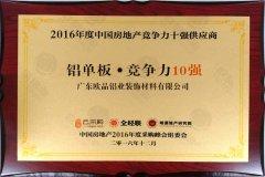 2016年度中国房地产竞争力十强供应商